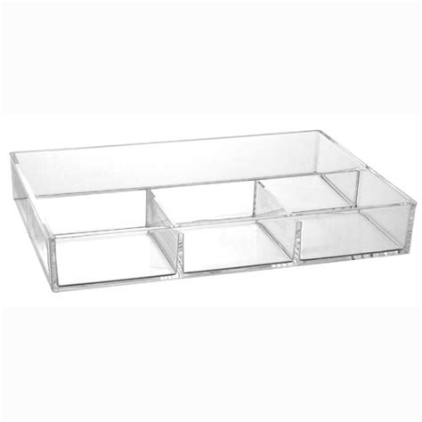 Used Makeup Vanity 4 Compartment Acrylic Accessory Tray In Cosmetic Organizers
