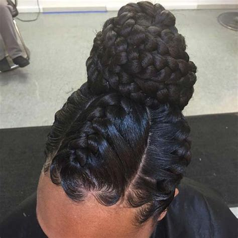 one goddess braid cebter of head blog bun braids