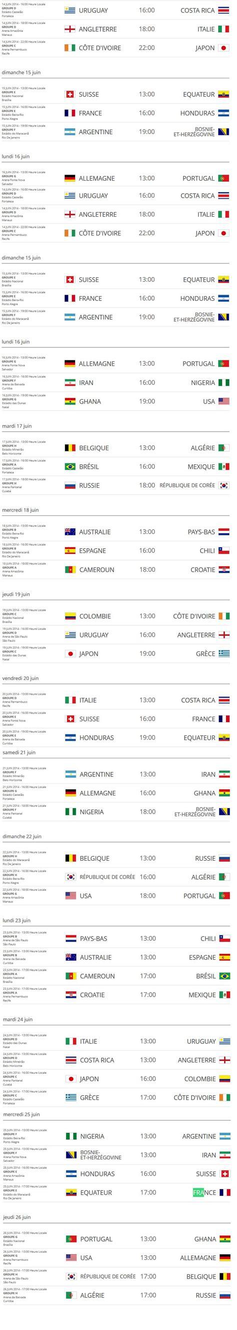 mondial 2014 le calendrier des matches le footballeur
