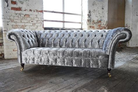 Chesterfield Fabric Sofa Bed by Modern Handmade Silver Crushed Velvet Fabric Chesterfield