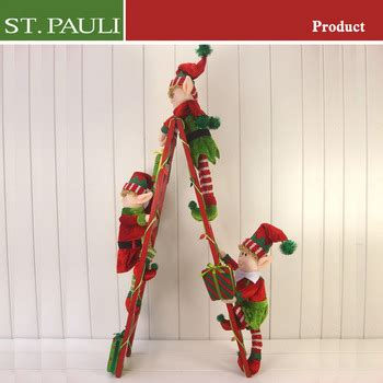 whats the name of zims elf on ladder with lights home wood ladder decoration 26 inch plush climbing ladder wooden gifts
