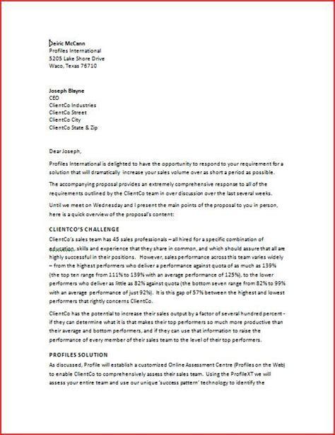 sales proposal letter sales proposal letter is written