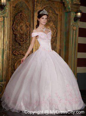 30618 Pink Sweet Offshoulder Dress light pink the shoulder appliques organza sweet 15 dresses mydresscity