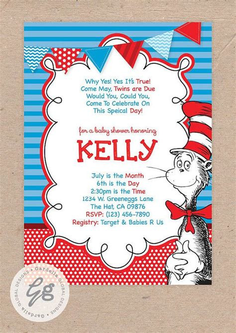Cat In The Hat Baby Shower Invitations by Cat In The Hat Baby Shower Invitation Dr Seuss Baby Shower