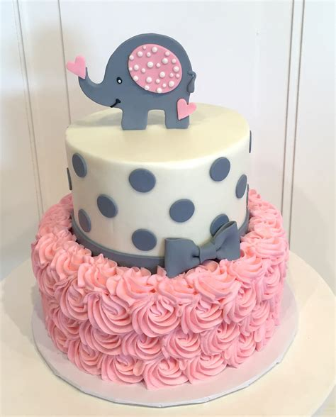 Baby Shower Cakes by Baby Shower Cake With Elephant On Top The Cake Is A Pink