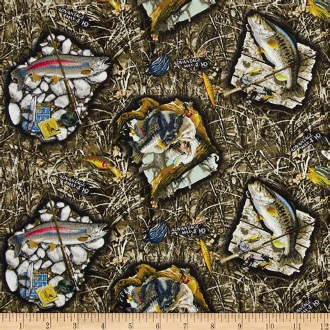 Realtree Quilting Fabric by Realtree Fish In Sw Multi Discount Designer Fabric