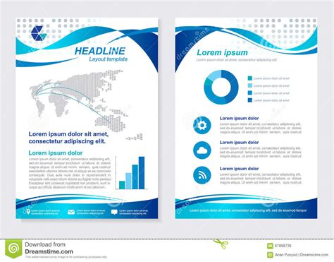 layout template size a4 front page and back page blue wave