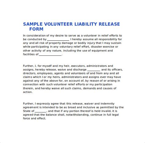 sle liability release form exles 9 download free