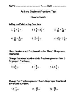 Fraction Test 4th Grade Go Math Adding Amp Sub Mixed