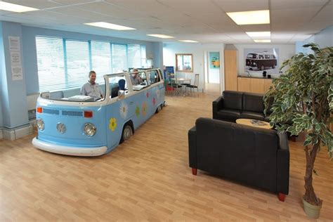 repurposed office furniture volkswagon repurposed into a groovy desk for three