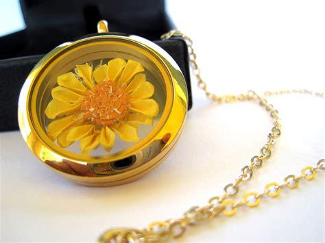 Origami Locket Necklace - origami sunflower necklace floating locket pendant