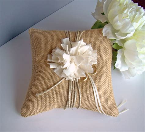 How To Make A Burlap Ring Bearer Pillow by Rustic Burlap Wedding Ring Bearer Pillow Burlap Wedding Summer Wedding Ring Pillow Ring