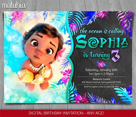 Moana Invitation Disney Moana Invite Moana Birthday Moana Invitation Template