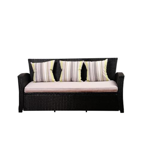black outdoor sofa international home atlantic outdoor sofa with cushions in