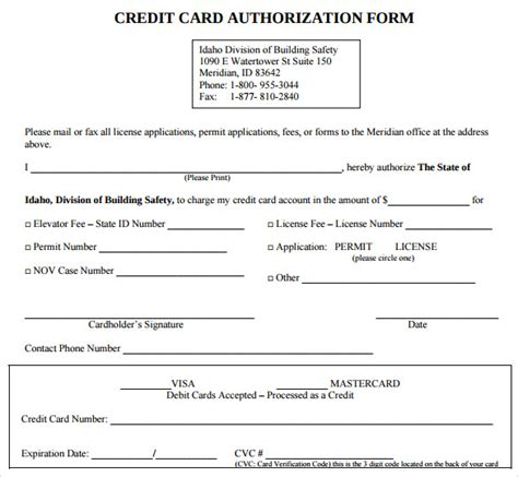 Credit Card Blank Template Credit Card Authorization Form 6 Free