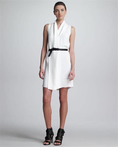 derek lam draped belted dress white