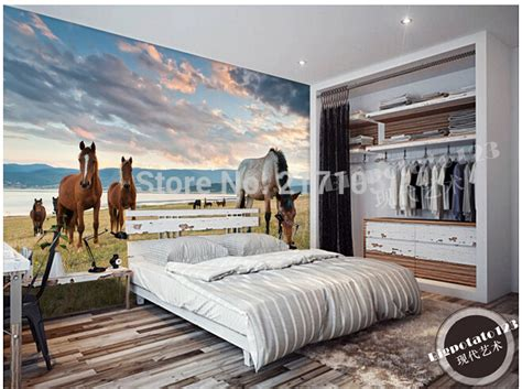 horse wallpaper for bedrooms aliexpress com buy custom photo wallpaper lake steppe