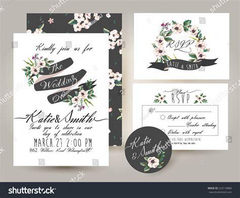 wedding invitation card suite flower stock vector
