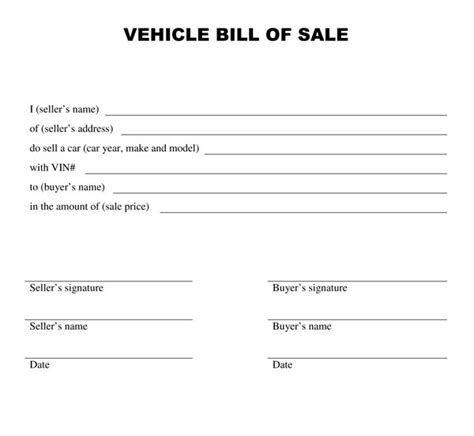 Free Printable Car Bill of Sale Form (GENERIC)