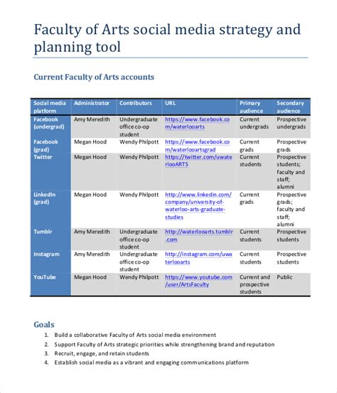 sle social media marketing plan template marketing strategy plan template 12 word pdf documents
