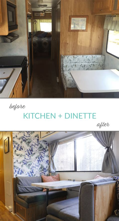 before after pictures of the rv renovation we did on our check out the cutest little rv renovation you ll ever see