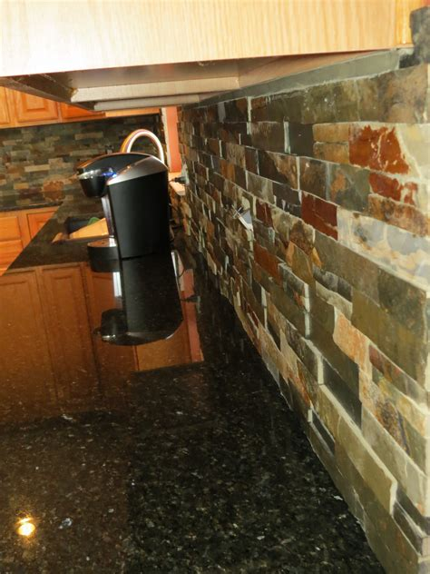 opulent subway finished slate backsplash tiled