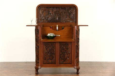 Vintage Bar Cabinet with Carved Teak Vintage Bar Or Liquor Cabinet Server Ebay