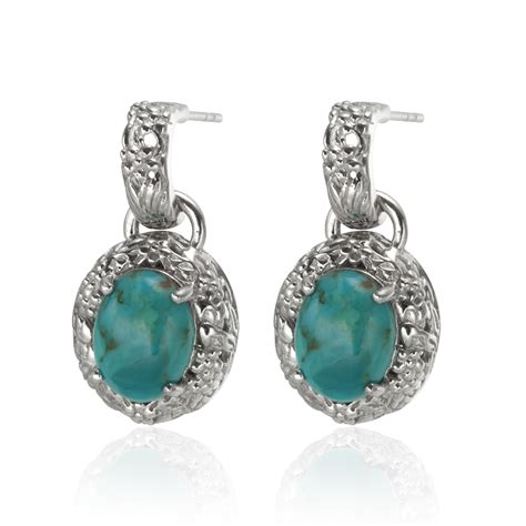 sterling silver oval drop earrings sterling silver 10x8mm oval turquoise drop earrings