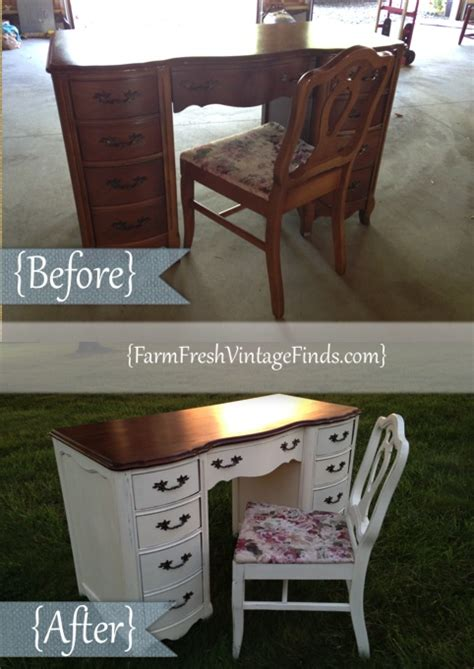 French Provincial Desk In Old White Farm Fresh Vintage Finds
