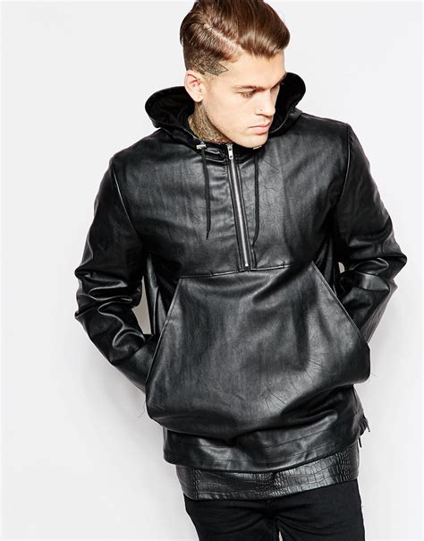 hooded leather jacket mens asos faux leather hooded jacket in black for lyst