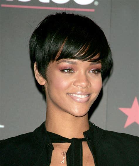 rihanna short straight casual pixie hairstyle black rihanna short straight casual hairstyle black