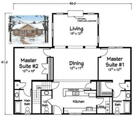 House Plans With Two Master Suites On First Floor by Two Master Bedroom House Plans Show Home Design Inside 2