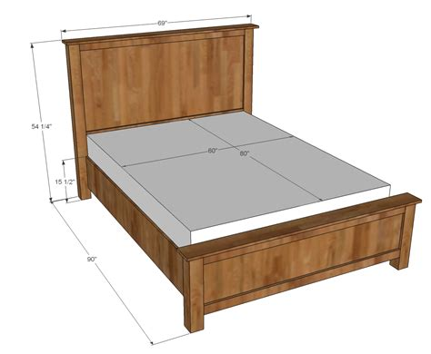 wooden bed frame plans ana white wood shim cassidy bed queen diy projects