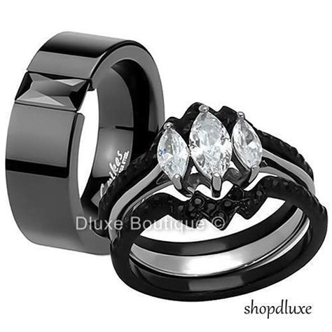 Black Diamond Wedding Bands His And Hers