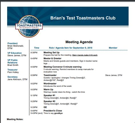 Toastmasters Meeting Agenda Template
