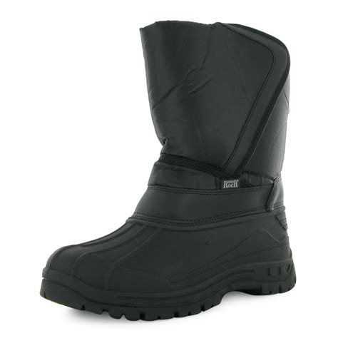 mens pull on snow boots new mens black padded casual winter velcro pull on rubber