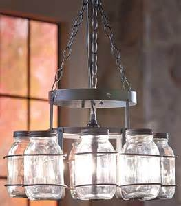canning jar lights chandelier country rustic hanging wrought iron canning jar