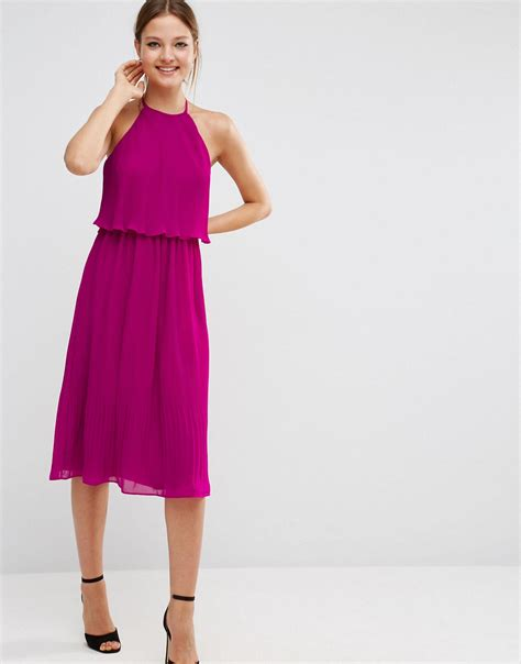 Purple Layer Mini Dress asos pleated layer midi dress in purple lyst