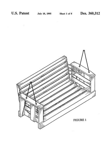 reversible porch swing patent usd360312 reversible porch swing google patents