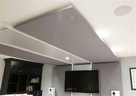home theater ceiling panels basement transformed into home theatre entertainment room
