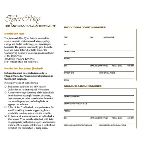 Award Nomination Form Template 12 Free Word Pdf Documents Download Free Premium Templates Nomination Form Template