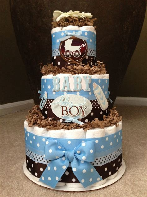 Baby Blue And Brown Baby Shower Decorations by Blue And Brown Boy Cake For Baby Shower Decoration