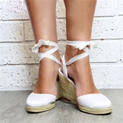 Ladies White Espadrille Wedge Heeled Sandals White Heels White Wedge Shoes Wedding