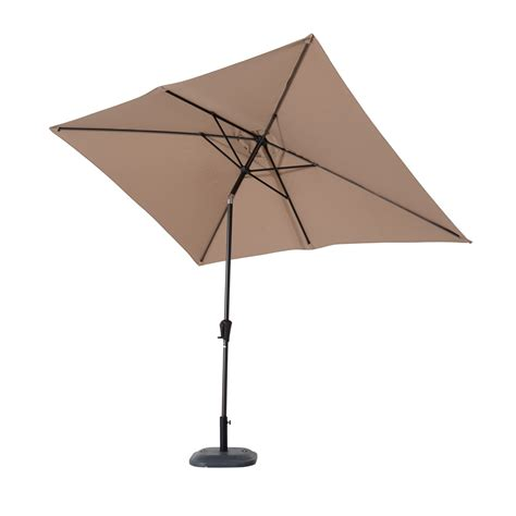Crank And Tilt Patio Umbrella Outsunny 6 5 X 10 Market Rectangle Patio Umbrella W Tilt And Crank Light Coffee Brown