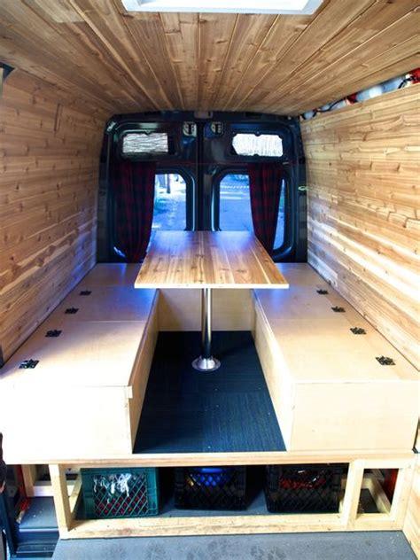 bed table  benches  camper van