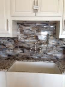 Brown Kitchen Backsplash Fused Glass Streaky Brown Subway Tile For Kitchen