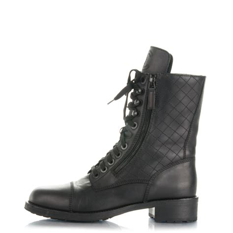 chanel combat boots chanel calfskin combat boots 39 5 black 173988