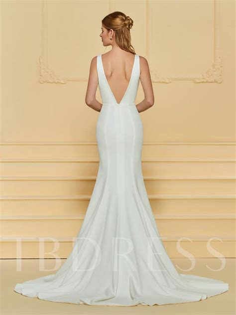 deep  neck mermaid wedding dress tbdresscom