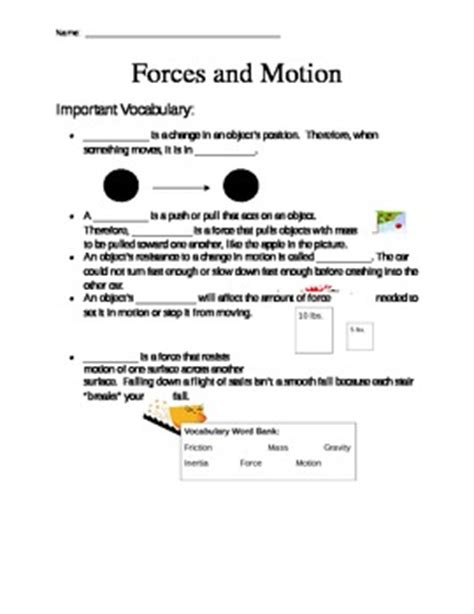 Forces And Motions Worksheets by Forces And Motion Worksheet By Mrsdonovan5 Teachers Pay