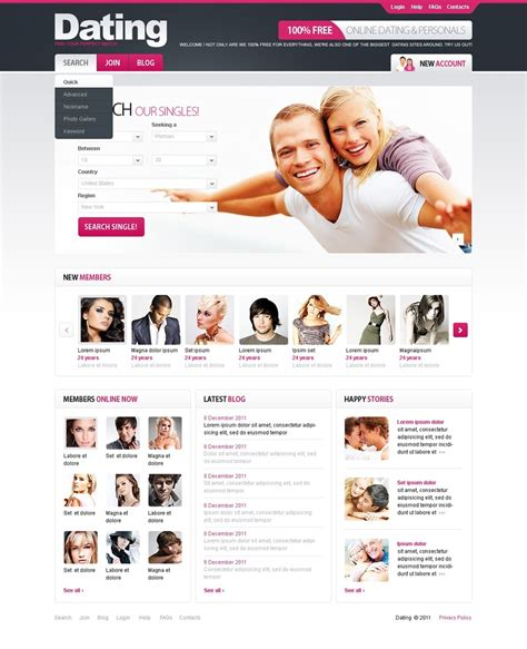 Dating Psd Template 56772 Dating Site Profile Template